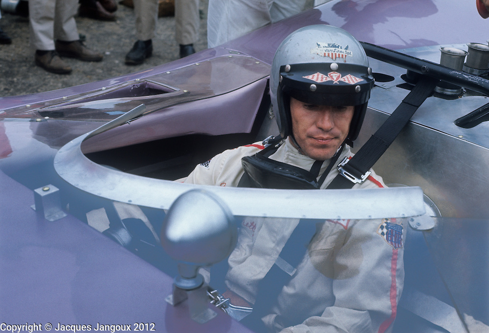 Mario Andretti driving a Honker II, a Ford powered red Holman & Moody car at CAN AM races, 1967. The car was not competitive. Andretti was Formula One World Champion, winner of Indianapolis 500 etc.