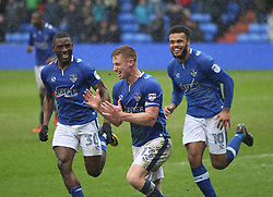 Eoin Doyle of Oldham Athletic (C) celebrates scoring his sides second goal - Mandatory by-line: Jack Phillips/JMP - 02/04/2018 - FOOTBALL - Sportsdirect.com Park - Oldham, England - Oldham Athletic v Blackpool - Football League One