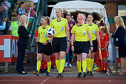 NEWPORT, WALES - Tuesday, June 12, 2018: Referee Lina Lehtovaara and her assistants Tonja Paavola, Jenni Mahlamäki and Laura Griffiths during the FIFA Women's World Cup 2019 Qualifying Round Group 1 match between Wales and Russia at Newport Stadium. (Pic by David Rawcliffe/Propaganda)