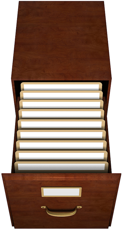 Open file drawer with nine file folders with blank labels isolated with clipping path