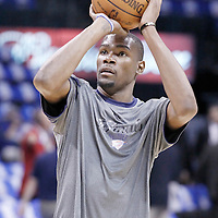 12 June 2012: Oklahoma City Thunder small forward Kevin Durant (35) warms up prior to Game 1 of the 2012 NBA Finals between the Heat and the Thunder, at the Chesapeake Energy Arena, Oklahoma City, Oklahoma, USA.