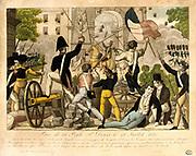 Revolution in France, 1830: Capture of Porte Saint Denis July 1830. Popular hand-coloured woodcut.