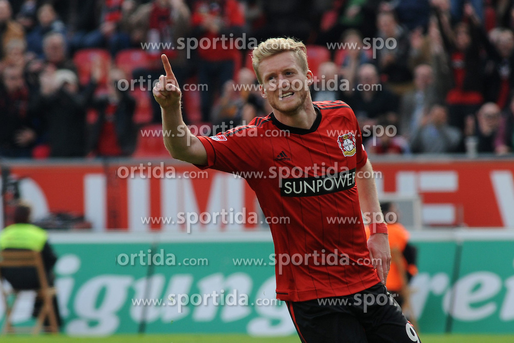 20.04.2013, BayArena, Leverkusen, GER, 1. FBL, Bayer 04 Leverkusen vs TSG 1899 Hoffenheim, 30. Runde, im Bild Torschuetze Andre Schuerrle ( Bayer 04 Leverkusen/ Portrait/ Emotion ) jubelt ueber seinen Treffer // during the German Bundesliga 30th round match between Bayer 04 Leverkusen and TSG 1899 Hoffenheim at the BayArena, Leverkusen, Germany on 2013/04/20. EXPA Pictures © 2013, PhotoCredit: EXPA/ Eibner/ Thomas Thienel..***** ATTENTION - OUT OF GER *****