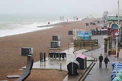 © Licensed to London News Pictures. 31/05/2015. Brighton, UK. A empty beach in Brighton with strong wind and high waves battering the South Coast, today May 31st 2015. Photo credit : Hugo Michiels/LNP