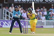 Ellyse Perry of Australia (8) drives through the covers during the Royal London Women's One Day International match between England Women Cricket and Australia at the Fischer County Ground, Grace Road, Leicester, United Kingdom on 4 July 2019.