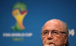 13.07.2014, Maracana, Rio de Janeiro, BRA, FIFA WM, Pressekonferenz Sepp Blatter, Finale, im Bild FIFA Präsident Sepp Blatter // FIFA President Joseph Blatter during Pressconference of the FIFA Worldcup Brazil 2014 at the Maracana in Rio de Janeiro, Brazil on 2014/07/13. EXPA Pictures © 2014, PhotoCredit: EXPA/ Eibner-Pressefoto/ Cezaro<br /> <br /> *****ATTENTION - OUT of GER*****
