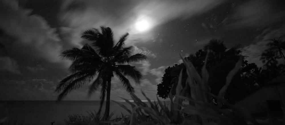 Black And White Beach Landscape At Night Lit By Full Moon Fiji