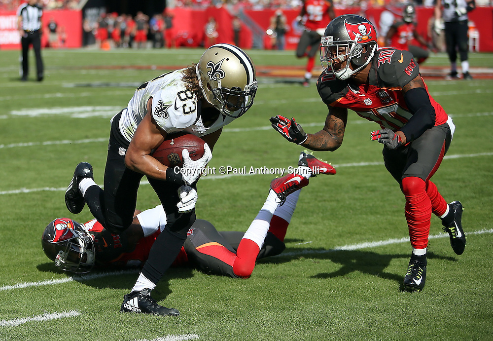 New Orleans Saints wide receiver Willie Snead (83) gets shoved out of bounds by Tampa Bay Buccaneers free safety Bradley McDougald (30) as he catches a late second quarter third down pass that gives the Saints a first down at the Buccaneers 21 yard line during the 2015 week 14 regular season NFL football game against the Tampa Bay Buccaneers on Sunday, Dec. 13, 2015 in Tampa, Fla. The Saints won the game 24-17. (©Paul Anthony Spinelli)