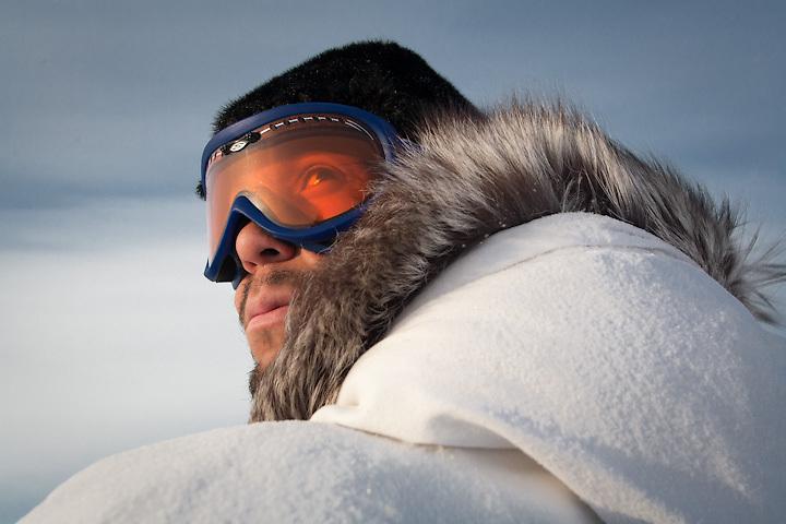 Yup'ik hunter Phillip Blanchett on Arctic ice, Point Hope, Alaska.