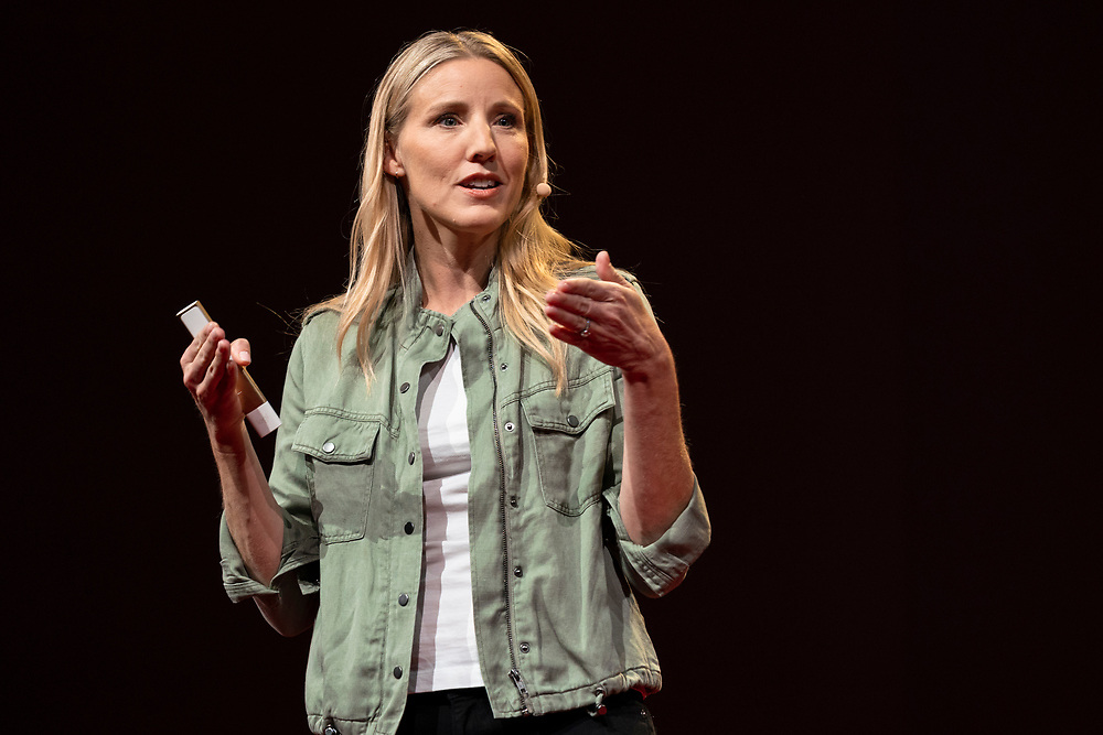 Julie Cordua speaks at TED2019: Bigger Than Us. April 15 - 19, 2019, Vancouver, BC, Canada. Photo: Bret Hartman / TED