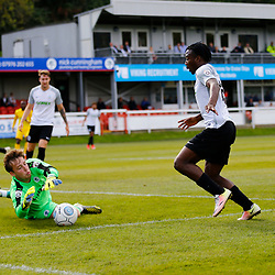 SEPTEMBER 1y6:  Dover Athletic against Chester FC in Conference Premier at Crabble Stadium in Dover, England. Doveer ran out emphatic winners 4 goal to nothing. Chester's keeper Alex Lynch at full stretch to deny Dover's forward Kadell Daniel. (Photo by Matt Bristow/mattbristow.net)
