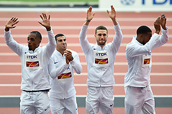 Chijindu Ujah, Adam Gemili, Daniel Talbot and Nethaneel Mitchell-Blake of Great Britain on the winners podium - Mandatory byline: Patrick Khachfe/JMP - 07966 386802 - 13/08/2017 - ATHLETICS - London Stadium - London, England - Men's 4x100m Metres Relay Medal Ceremony - IAAF World Championships