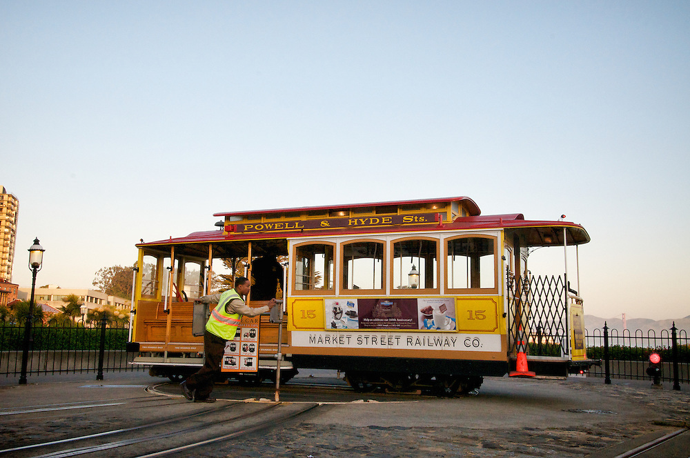 Cable Car 15 on the  Powell & Hyde Turnaround at Sunrise   May 2012