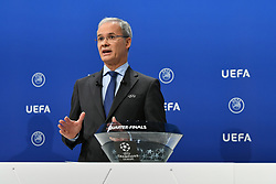 NYON, SWITZERLAND - Friday, July 10, 2020: UEFA Deputy General Secretary Giorgio Marchetti during the UEFA Champions League and UEFA Europa League 2019/20 draws for the Quarter-final, Semi-final and Final at the UEFA headquarters, The House of European Football. (Photo Handout/UEFA)