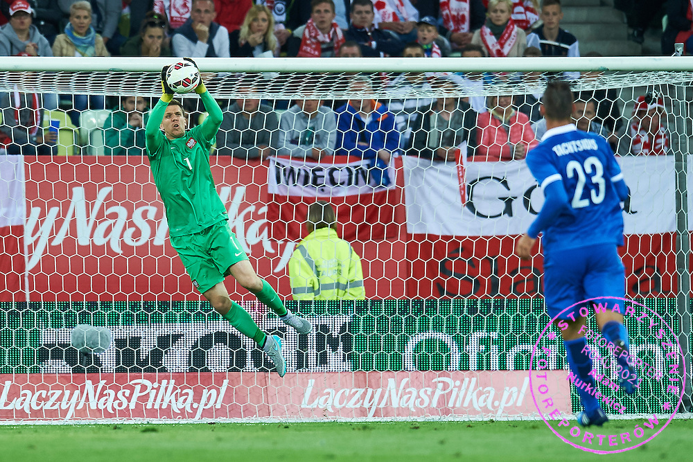 (L) Goalkeeper Wojciech Szczesny from Poland saves during international friendly soccer match between Poland and Greece at PGE Arena Stadium on June 16, 2015 in Gdansk, Poland.<br /> Poland, Gdansk, June 16, 2015<br /> <br /> Picture also available in RAW (NEF) or TIFF format on special request.<br /> <br /> For editorial use only. Any commercial or promotional use requires permission.<br /> <br /> Adam Nurkiewicz declares that he has no rights to the image of people at the photographs of his authorship.<br /> <br /> Mandatory credit:<br /> Photo by &copy; Adam Nurkiewicz / Mediasport