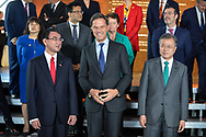 20.10.2018. Copenhagen, Denmark.  <br /> Minister for Foreign Affairs, Japan HE Taro Kono (L), Prime Minister of the Netherlands HE Mark Rutte (C), President of South Korea HE Moon Jae-in (R) pose for a family picture during the P4G Copenhagen Summit 2018 at The Danish Radio Concert Hall.<br /> Photo: © Ricardo Ramirez