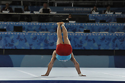 October 11, 2018 - Buenos Aires, Buenos Aires, Argentina - REZA BOHLOULZADE HAJLARI of Iran performs floor exercises as part of  the Men's All Around competition during the Buenos Aires 2018 Youth Olympic Games. (Credit Image: © Patricio Murphy/ZUMA Wire)
