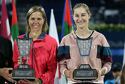 DUBAI, Feb. 24, 2019  Ekaterina Makarova(R) of RussiaLucie Hradecka of the Czech Republic pose with the trophy after the women's doubles final match against Hsieh Su-wei of Chinese TaipeiBarbora Strycova of the Czech Republic at Dubai Duty Free Tennis WTA Championships 2019 in Dubai, the United Arab Emirates, Feb.23, 2019. (Credit Image: © Xinhua via ZUMA Wire)
