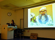 Hempstead, New York, U.S. 12th November 2013.  JANET HAMLIN, a courtroom artist covering the military tribunals at Guantanamo Bay since 2006, shows her drawings and discusses her work at Hofstra University. Much of the time she was the only journalist providing a visual record of the events at the United States naval base in Cuba, and her new book 'Sketching Guantanomo' is a collection of her images.