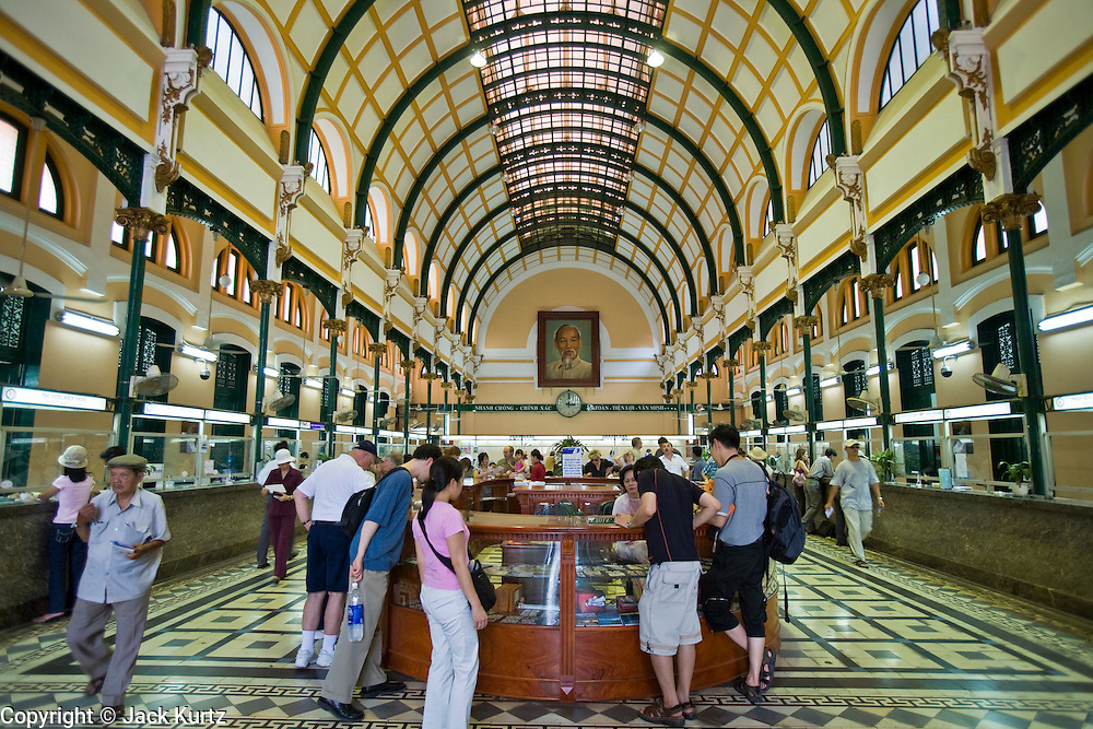 09 MARCH 2006 - HO CHI MINH CITY, VIETNAM: The interior of the central post office in Ho Chi Minh City (Saigon), Vietnam. The post office is one of Saigon's landmark buildings and was built during the French colonial period.  PHOTO BY JACK KURTZ