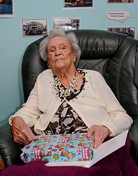 Pictured: Janet with some of the flowers, cards and presents she has received.<br /> <br /> Janet Mackay, who was born in 1910, the year George VII died and four years before the start of the First World War, celebrated her 109th birthday at her care home in Broxburn, West Lothian today, Tuesday.<br /> <br /> &copy; Dave Johnston/ EEm