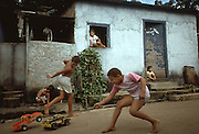 Children playing in a favella in Brazil.