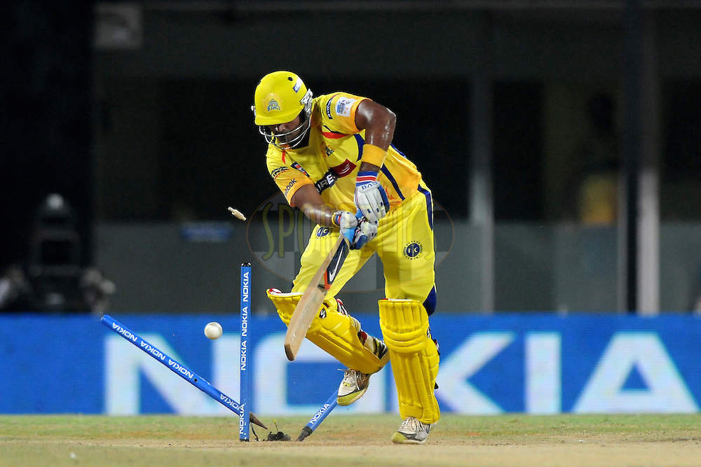 Murali Vijay of Chennai Super Kings gets bowled out by Lasith Malinga of Mumbai Indians  during match 3 of the NOKIA Champions League T20 ( CLT20 )between the Chennai Superkings and the Mumbai Indians held at the M. A. Chidambaram Stadium in Chennai , Tamil Nadu, India on the 24th September 2011..Photo by Pal Pillai/BCCI/SPORTZPICS