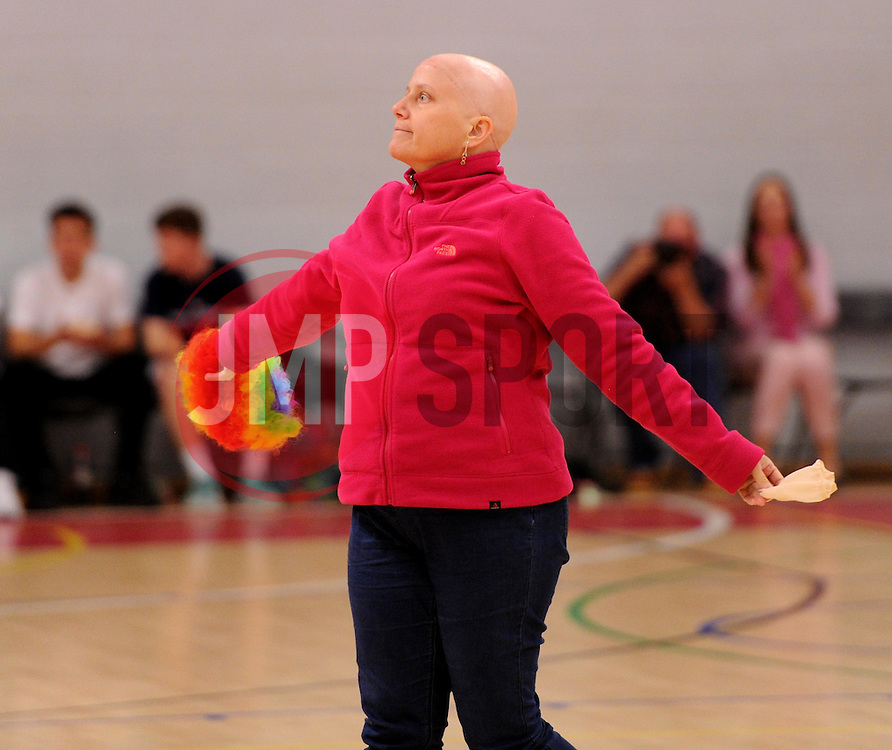 A member of BUST, the Bristol-based cancer charity, during half-time at SGS Wise Arena - Photo mandatory by-line: Paul Knight/JMP - Mobile: 07966 386802 - 10/10/2015 - BASKETBALL - SGS Wise Arena - Bristol, England - Bristol Flyers v Newcastle Eagles - British Basketball League