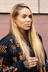 Helen Green  - also known as Arabella Drummond during her career as a glamour model the City of London Magistrates Court where Yusuf Elhabachi, 25, is on trial, accused of being in breach of a harassment notice by turning up at her One by One tattoo parlour in Soho, central London. London, October 05 2018.