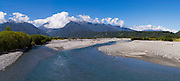 Panoramic view looking upstream the Wanganui River from the Highway 6 bridge, West Coast, New Zealand.