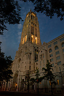 Riverside Church at dusk, New York City.