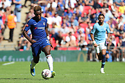 Chelsea Callum Hudson-Odoi (20) dribbling away from Manchester City Midfielder Riyad Mahrez (26) during the FA Community Shield match between Chelsea and Manchester City at Wembley Stadium, London, England on 5 August 2018.