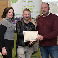 Ethan Lowe gets his certificate of completion for Motor Technology from tutors Joe McGonagle and Suzanne Hayes at the Clare Local Development Company Annual QQI Awards Evening held in the Old Ground Hotel on Tuesday last