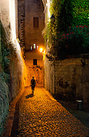 Vertical shot of a figure walking down a lamp-lit alley in Avignon, France.  The lamplight gives the photo a warm feeling.