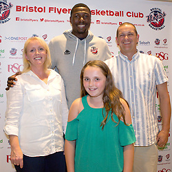 Daniel Edozie of Bristol Flyers poses with sponsors- Mandatory by-line: Robbie Stephenson/JMP - 12/09/2016 - BASKETBALL - Ashton Gate Stadium - Bristol, England - Bristol Flyers Sponsors Event