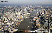 aerial photograph of the River Thames flowing through the City of London  England UK