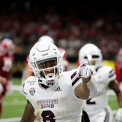Aug 31, 2019; New Orleans, LA, USA; Mississippi State Bulldogs running back Kylin Hill (8) celebrates after a touchdown against the Louisiana-Lafayette Ragin Cajuns during the second half at the Mercedes-Benz Stadium. Mandatory Credit: Derick E. Hingle-USA TODAY Sports
