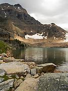 Opabin Lake, with Ringrose Peak in the background; near Lake O'Hara, Yoho National Park, Field, British Columbia, Canada