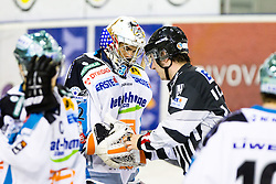 Alex Westlund (EHC Liwest Linz, #32) and linesman during ice-hockey match between HDD Tilia Olimpija and EHC Liwest Black Wings Linz at fourth match in Semifinal  of EBEL league, on March 13, 2012 at Hala Tivoli, Ljubljana, Slovenia. (Photo By Matic Klansek Velej / Sportida)
