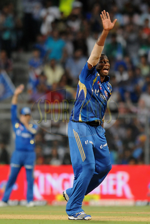 Kieron Pollard of Mumbai Indians appeals unsuccessfully for the wicket during match 28 of the Indian Premier League ( IPL) 2012  between The Mumbai Indians and the Kings X1 Punjab held at the Wankhede Stadium in Mumbai on the 22nd April 2012..Photo by Pal Pillai/IPL/SPORTZPICS.
