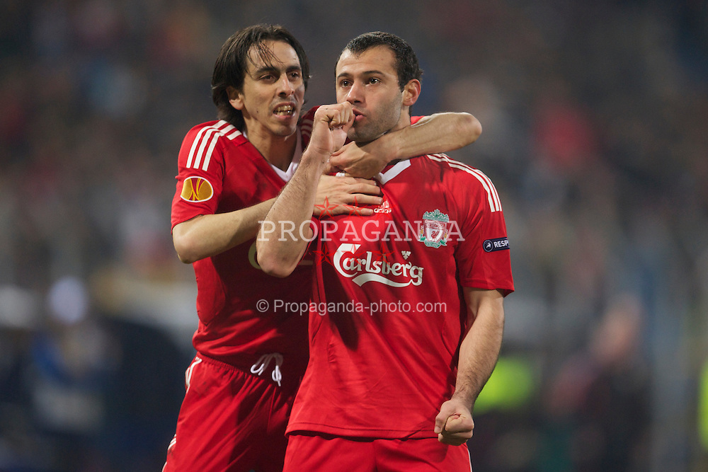 BUCHAREST, ROMANIA - Thursday, February 25, 2010: Liverpool's Javier Mascherano celebrates scoring the equalising first goal against FC Unirea Urziceni with team-mate Yossi Benayoun during the UEFA Europa League Round of 32 2nd Leg match at the Steaua Stadium. (Photo by David Rawcliffe/Propaganda)