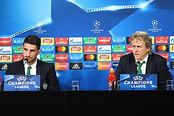 October 17, 2017 - Turin, Piedmont, Italy - Jorge Jesus, head coach of Sporting CP, and Cristiano Piccini (Sporting CP) during the Sporting CP press conference on the eve of the UEFA Champions League (Group D) match between Juventus FC and Sporting CP at Allianz Stadium on 17 October, 2017 in Turin, Italy. (Credit Image: © Massimiliano Ferraro/NurPhoto via ZUMA Press)
