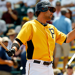 March 22, 2012; Bradenton, FL, USA; Pittsburgh Pirates right fielder Garrett Jones (46) reacts after striking out against the Tampa Bay Rays during the bottom of the first inning of a spring training game at McKechnie Field. Mandatory Credit: Derick E. Hingle-US PRESSWIRE