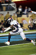 Denver Broncos strong safety T.J. Ward (43) celebrates after recovering a fumble at the Carolina Panthers 4 yard line after Denver Broncos outside linebacker Von Miller (58) strips the ball out of the hands of Carolina Panthers quarterback Cam Newton (1), setting up the game winning score during the NFL Super Bowl 50 football game against the Carolina Panthers on Sunday, Feb. 7, 2016 in Santa Clara, Calif. The Broncos won the game 24-10. (©Paul Anthony Spinelli)