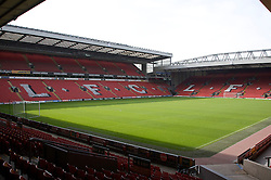 The view of the Anfield pitch from the Anfield Road Lower Stand, centre of Block 121.