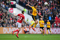 Football - 2018 / 2019 Emirates FA Cup - Fifth Round: Bristol City vs. Wolverhampton Wanderers<br /> <br /> Wolverhampton Wanderers' Raul Jimenez wins an aerial battle, at Ashton Gate.<br /> <br /> COLORSPORT/ASHLEY WESTERN