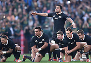 JOHANNESBURG, South Africa, 04 October 2014 : The All Blacks performing the Haka during the Castle Lager Rugby Championship test match between SOUTH AFRICA and NEW ZEALAND at ELLIS PARK in Johannesburg, South Africa on 04 October 2014. <br /> The Springboks won 27-25 but the All Blacks successfully defended the 2014 Championship trophy.<br /> <br /> © Anton de Villiers / SASPA
