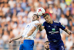 August 27, 2017 - Gent, BELGIUM - Gent's Stefan Mitrovic and Anderlecht's Uros Spajic fight for the ball during the Jupiler Pro League match between KAA Gent and RSC Anderlecht, in Gent, Sunday 27 August 2017, on the fifth day of the Jupiler Pro League, the Belgian soccer championship season 2017-2018. BELGA PHOTO JASPER JACOBS (Credit Image: © Jasper Jacobs/Belga via ZUMA Press)