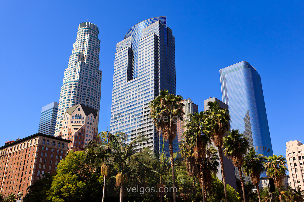 Photo of Los Angeles downtown office buildings in Southern California in the United States.