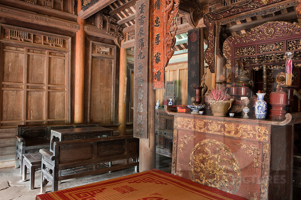 Old ancestor's altar in a vietnamese traditional house. Etnology museum, Hanoi, Vietnam, Asia.